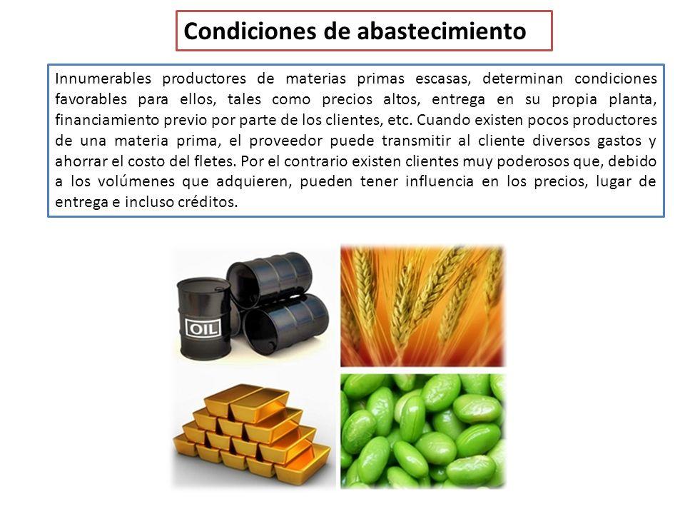 Condiciones de abastecimiento