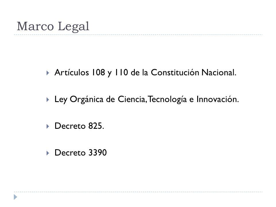 Marco Legal Artículos 108 y 110 de la Constitución Nacional.