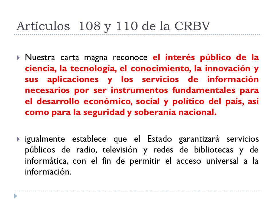 Artículos 108 y 110 de la CRBV