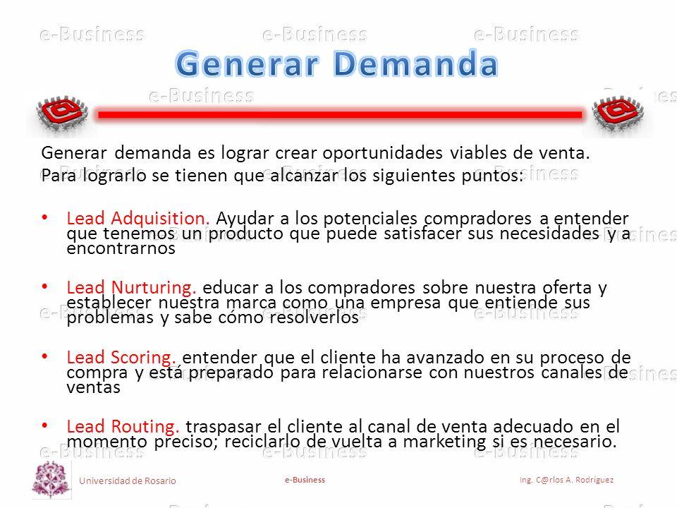 Generar Demanda Generar demanda es lograr crear oportunidades viables de venta. Para lograrlo se tienen que alcanzar los siguientes puntos: