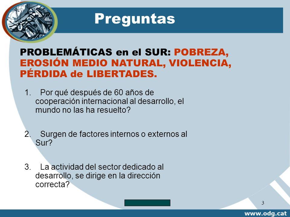 Preguntas PROBLEMÁTICAS en el SUR: POBREZA, EROSIÓN MEDIO NATURAL, VIOLENCIA, PÉRDIDA de LIBERTADES.