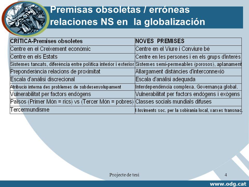 Premisas obsoletas / erróneas relaciones NS en la globalización