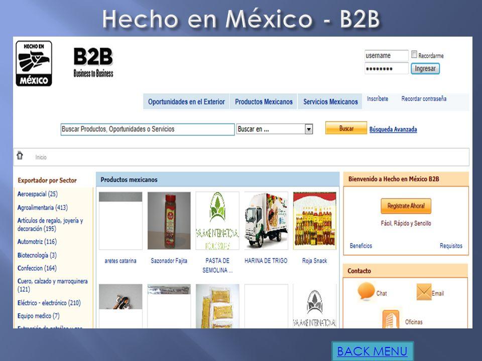 Hecho en México - B2B BACK MENU