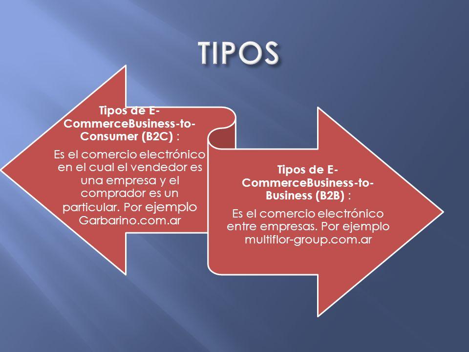 TIPOS Tipos de E-CommerceBusiness-to-Consumer (B2C) :