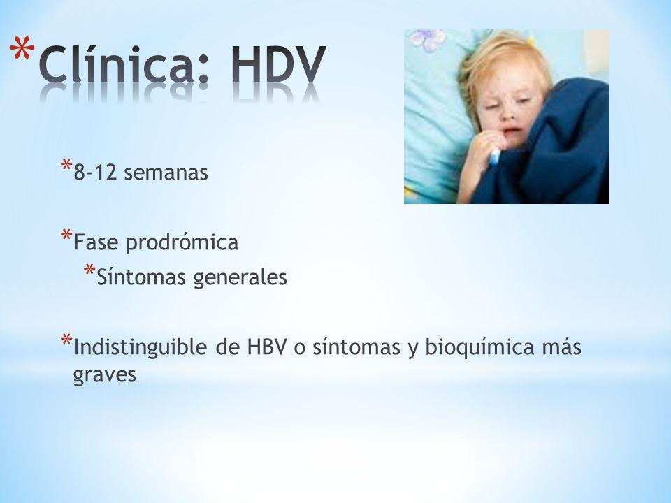 Clínica: HDV 8-12 semanas Fase prodrómica Síntomas generales