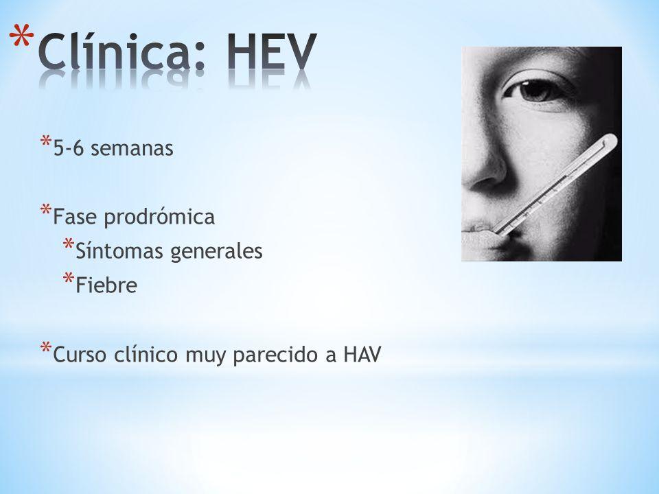 Clínica: HEV 5-6 semanas Fase prodrómica Síntomas generales Fiebre