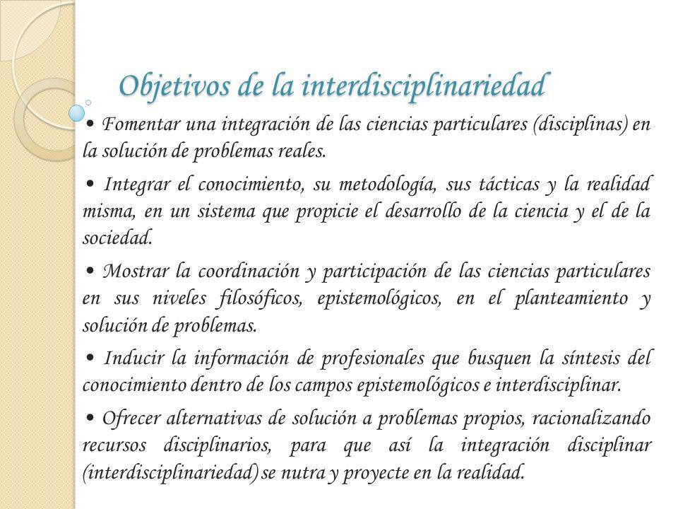 Objetivos de la interdisciplinariedad