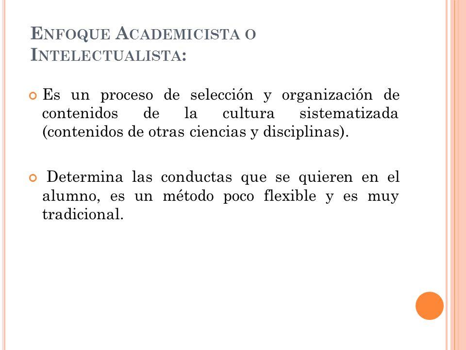 Enfoque Academicista o Intelectualista: