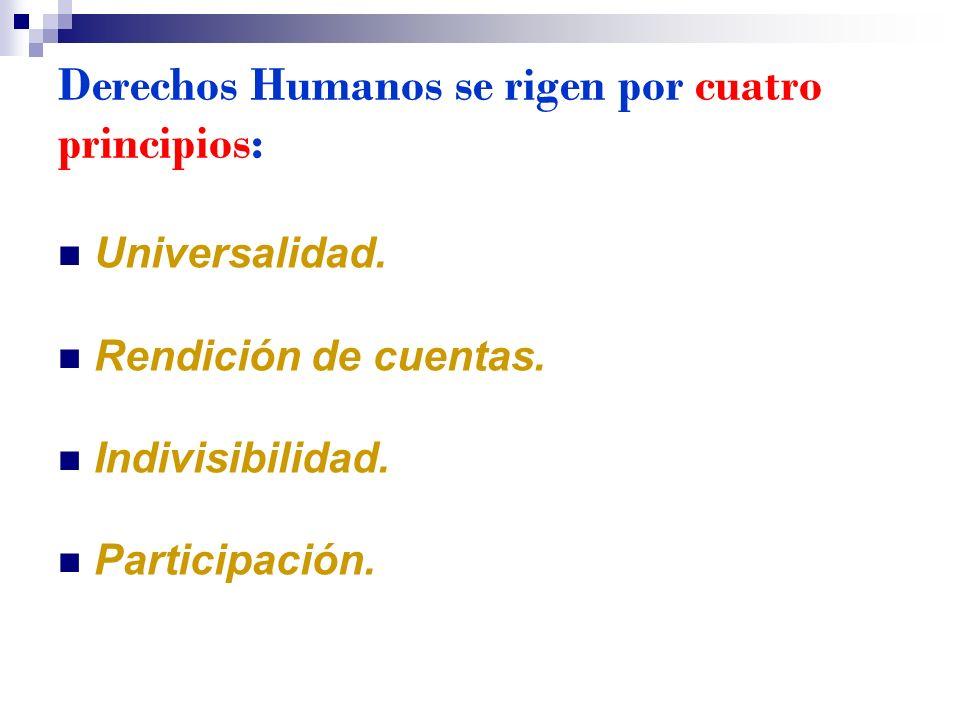 Derechos Humanos se rigen por cuatro principios: