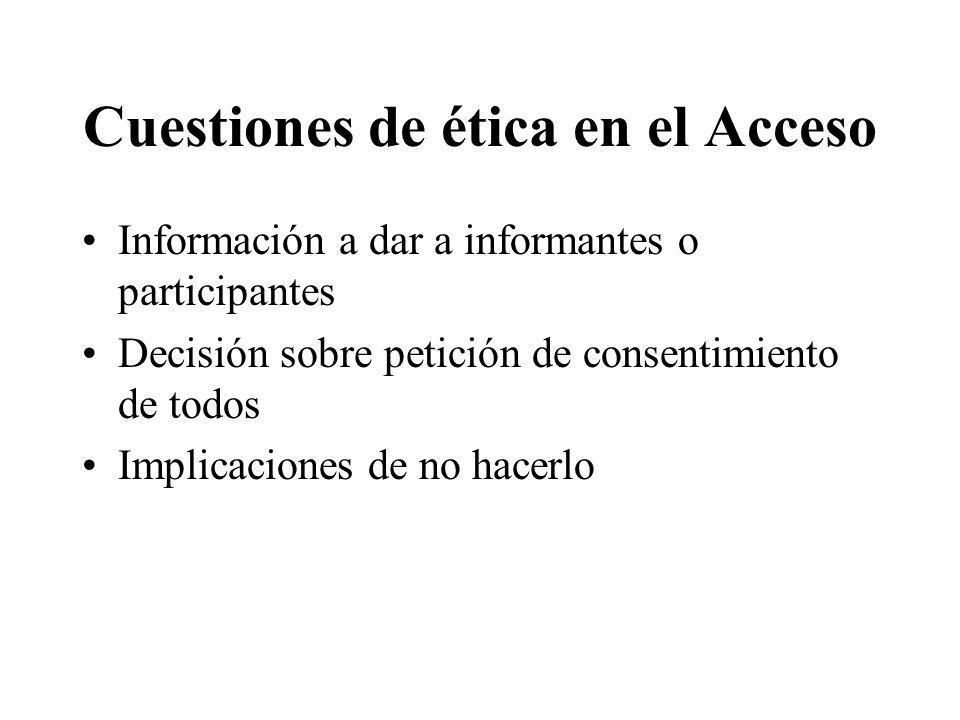 Cuestiones de ética en el Acceso