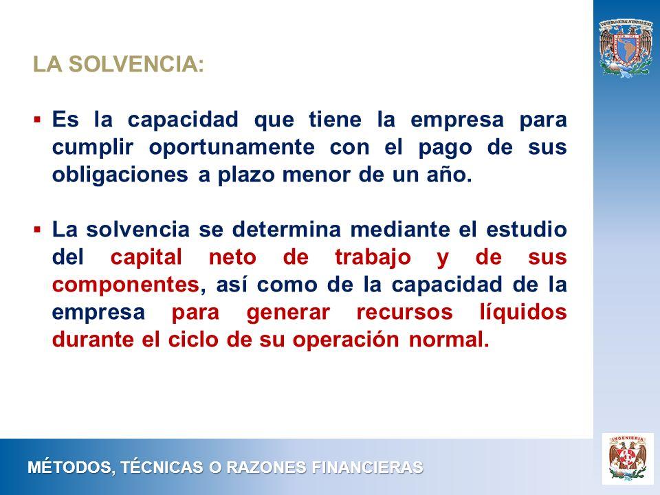 LA SOLVENCIA: Es la capacidad que tiene la empresa para cumplir oportunamente con el pago de sus obligaciones a plazo menor de un año.