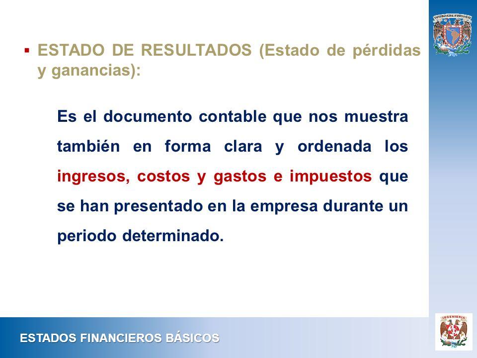 ESTADO DE RESULTADOS (Estado de pérdidas y ganancias):