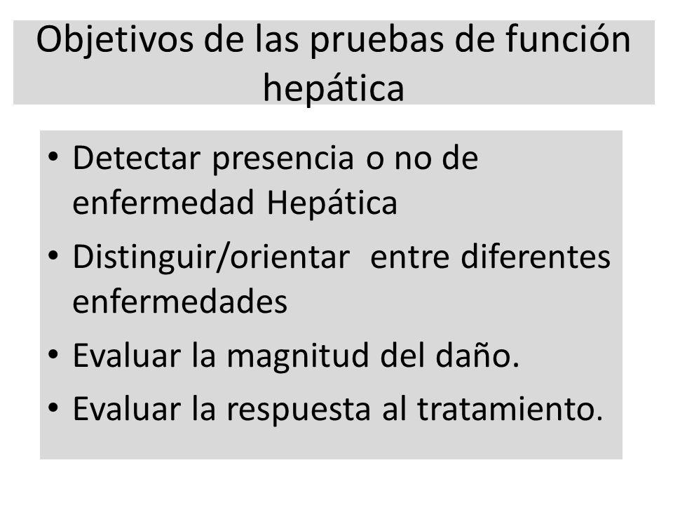 Objetivos de las pruebas de función hepática