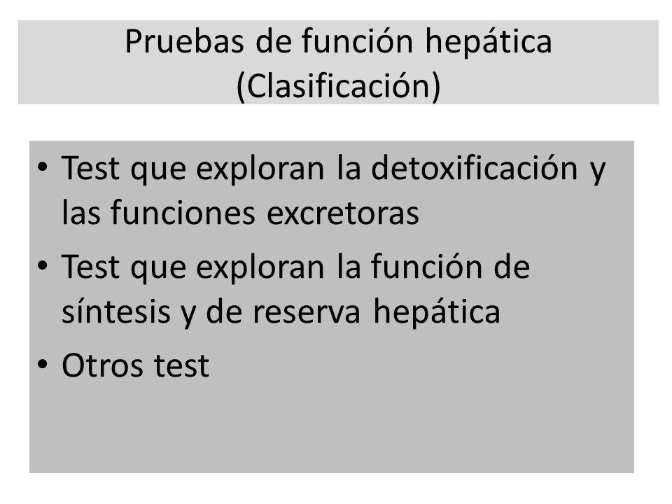 Pruebas de función hepática (Clasificación)