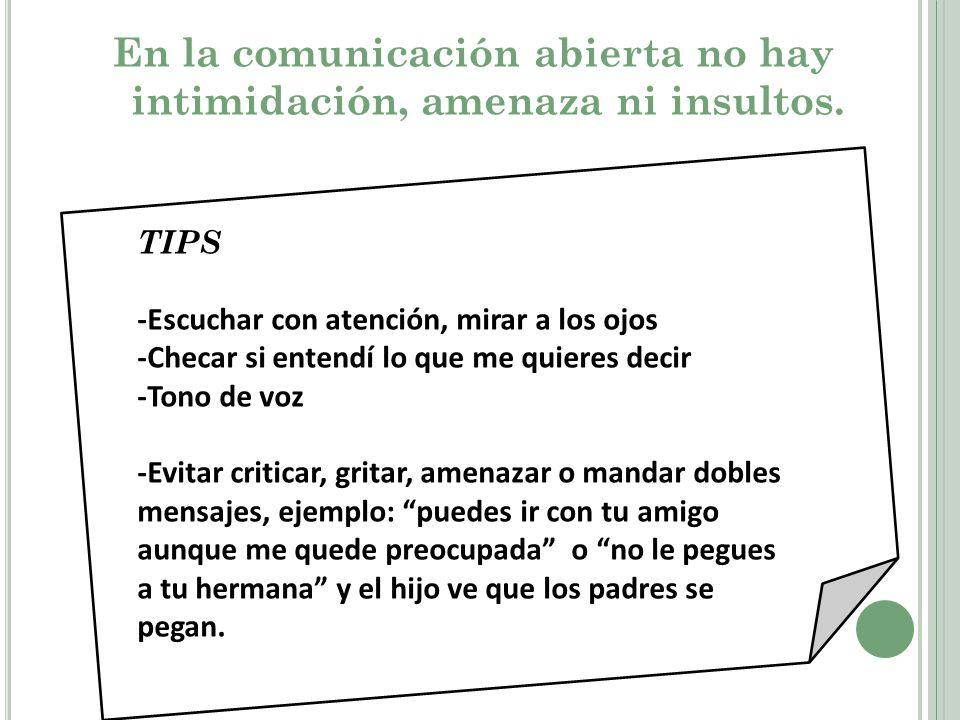 En la comunicación abierta no hay intimidación, amenaza ni insultos.