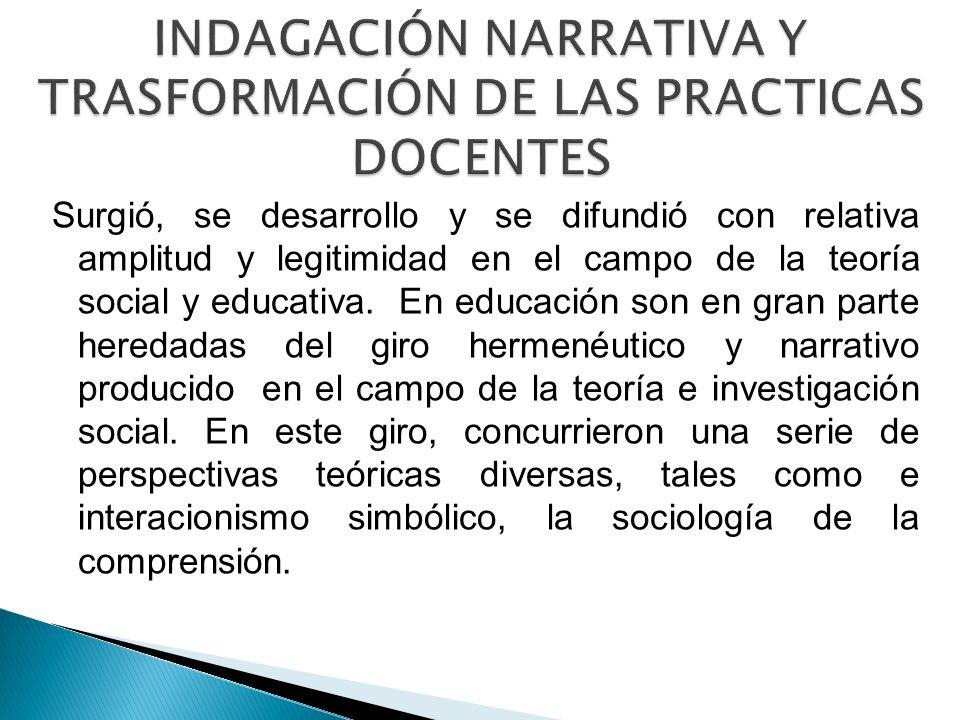 INDAGACIÓN NARRATIVA Y TRASFORMACIÓN DE LAS PRACTICAS DOCENTES