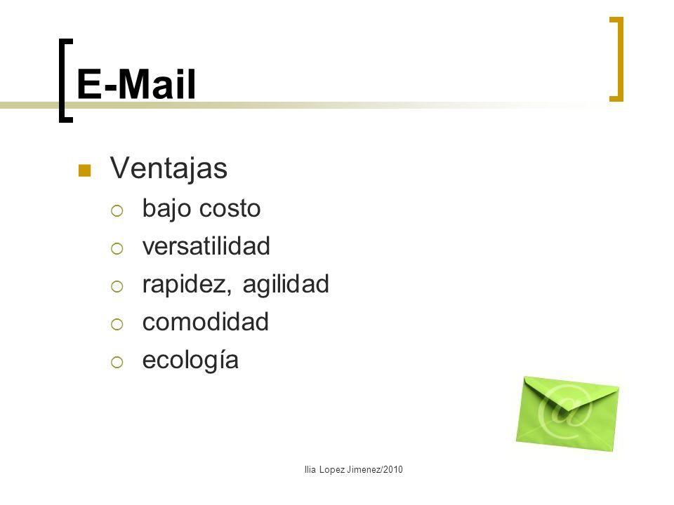E-Mail Ventajas bajo costo versatilidad rapidez, agilidad comodidad