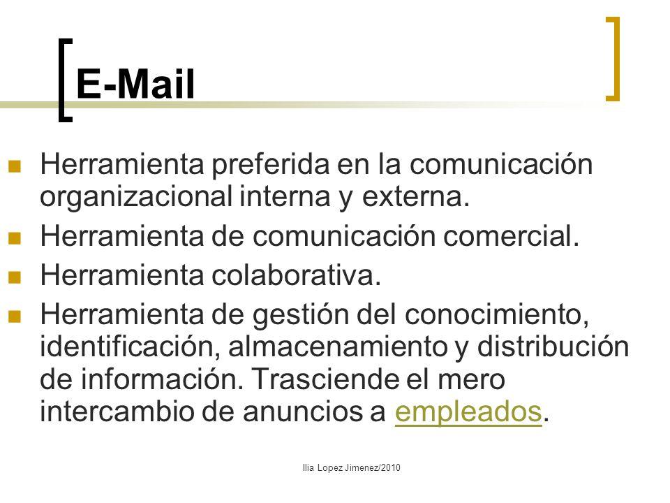 E-Mail Herramienta preferida en la comunicación organizacional interna y externa. Herramienta de comunicación comercial.