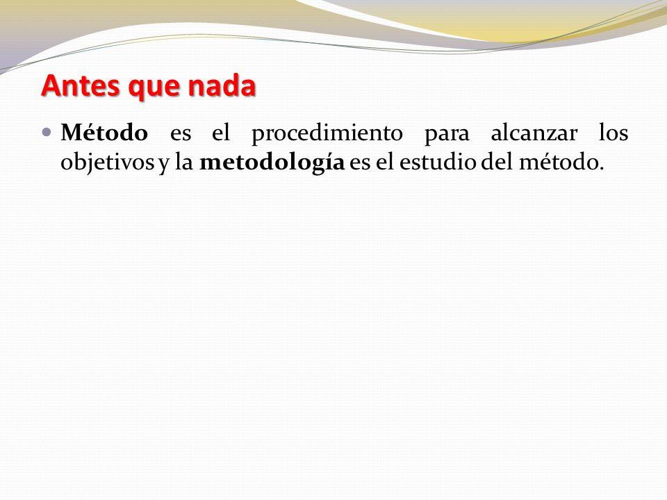 Antes que nada Método es el procedimiento para alcanzar los objetivos y la metodología es el estudio del método.