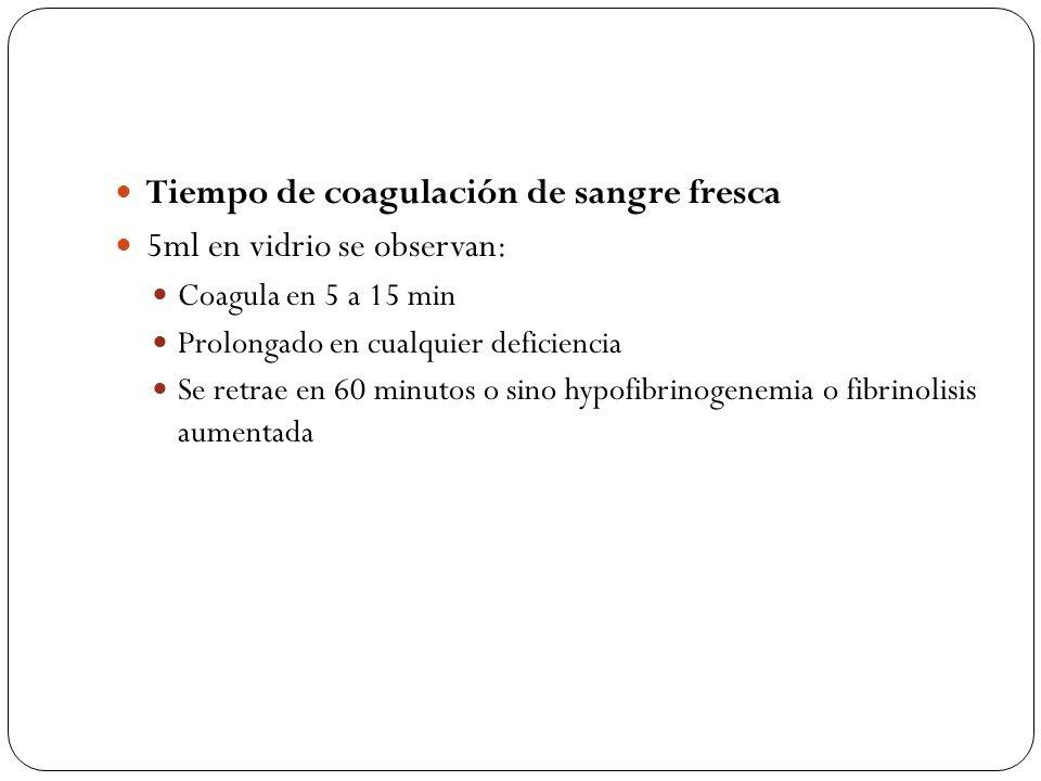 Tiempo de coagulación de sangre fresca 5ml en vidrio se observan: