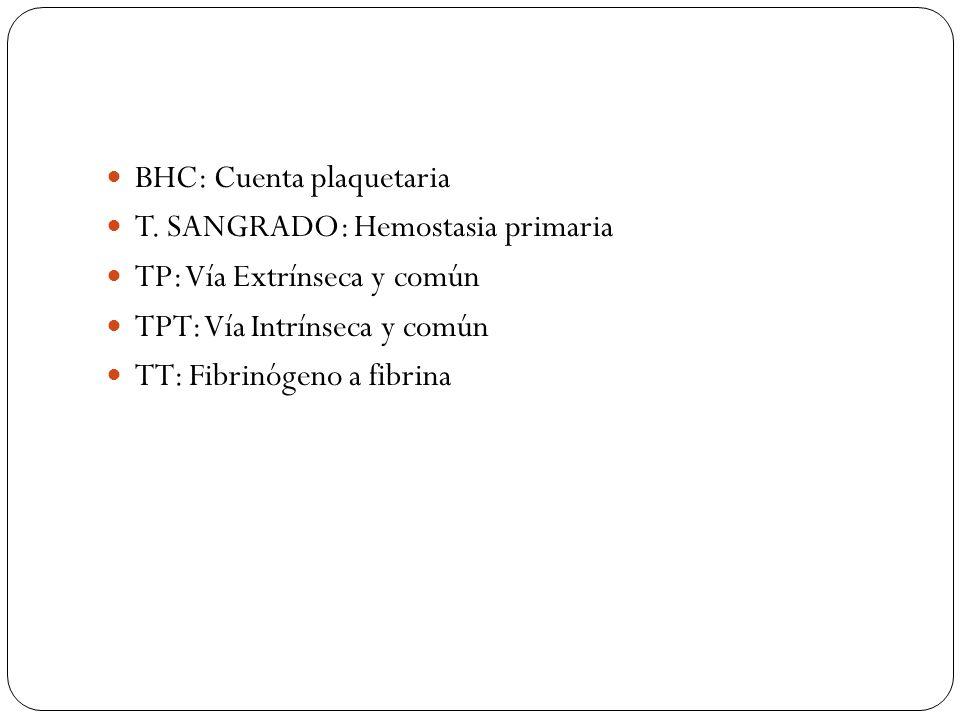 BHC: Cuenta plaquetaria