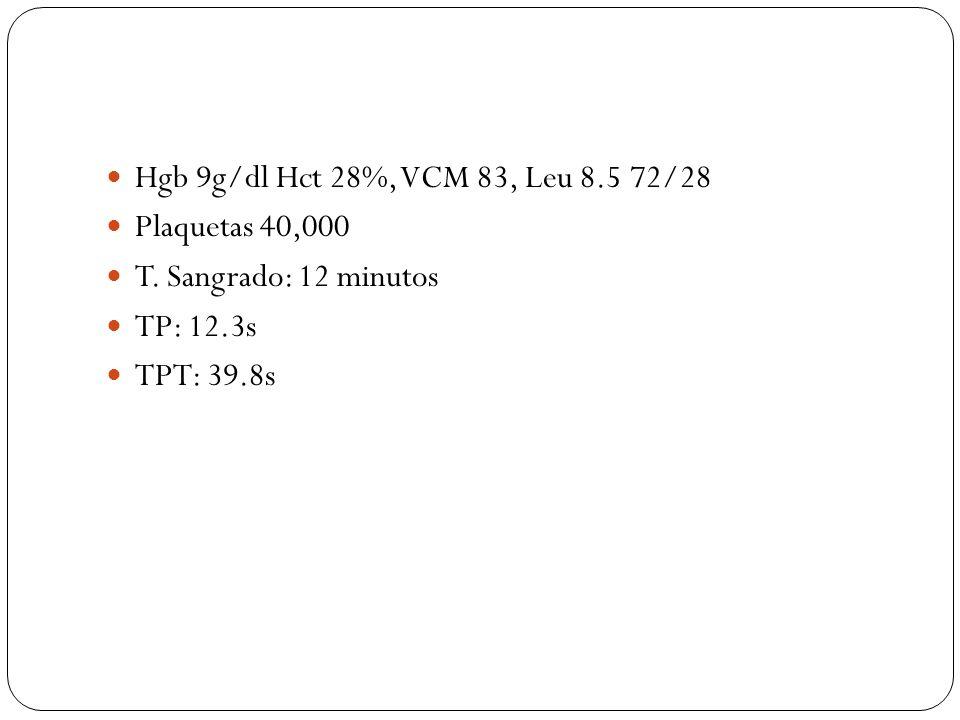 Hgb 9g/dl Hct 28%, VCM 83, Leu 8.5 72/28 Plaquetas 40,000.