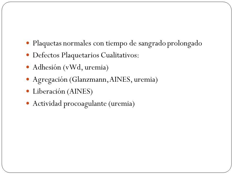 Plaquetas normales con tiempo de sangrado prolongado