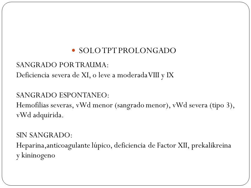 SOLO TPT PROLONGADO SANGRADO POR TRAUMA: