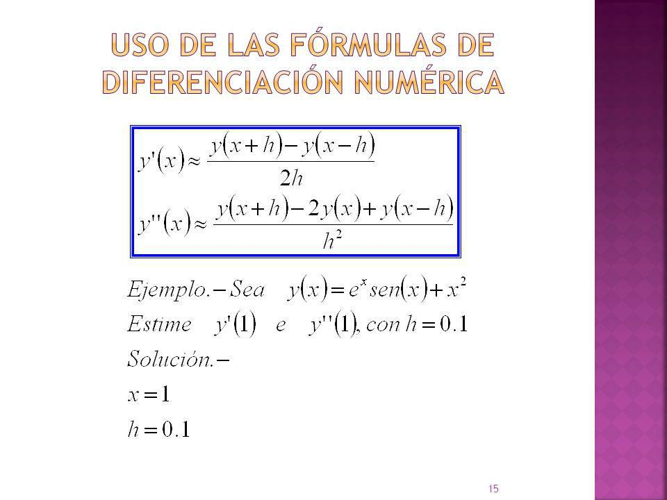 Uso de las Fórmulas de Diferenciación Numérica
