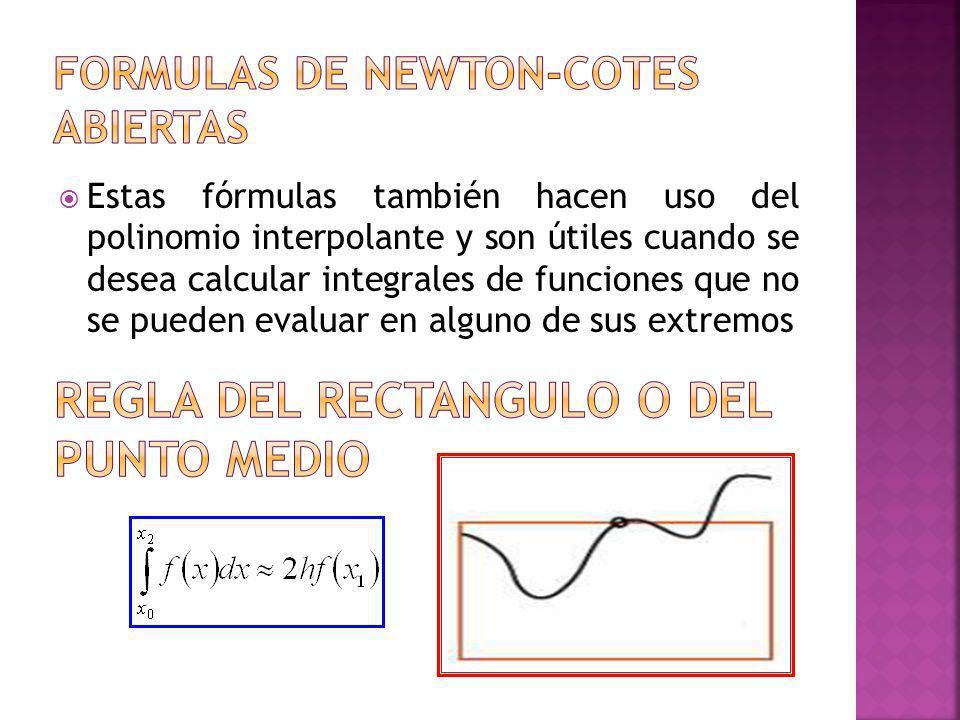 Formulas de newton-cotes abiertas