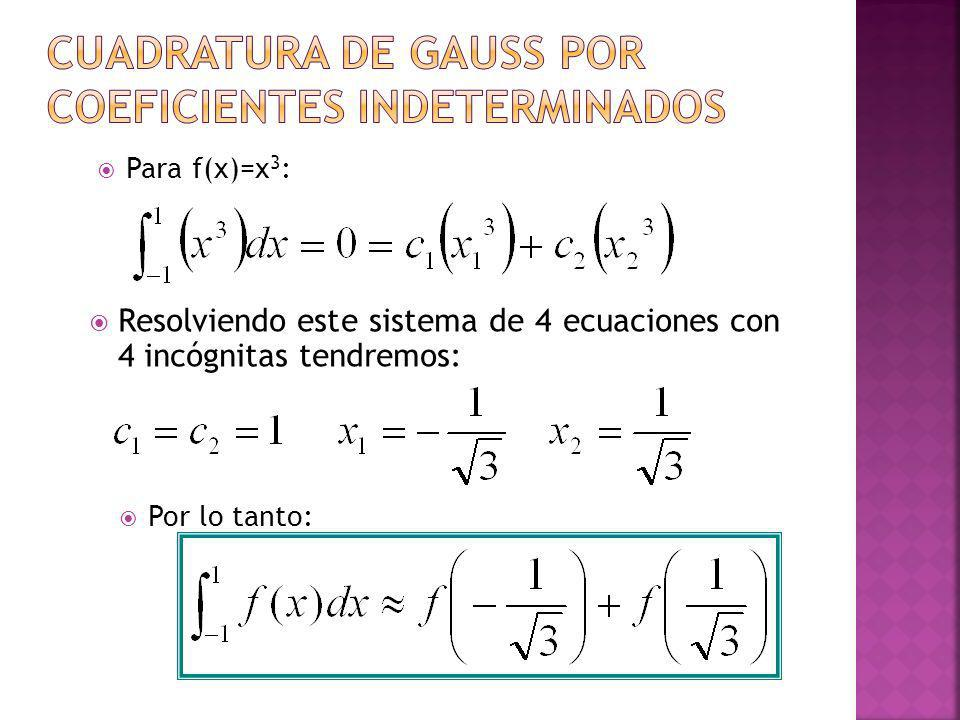Cuadratura de gauss por coeficientes indeterminados