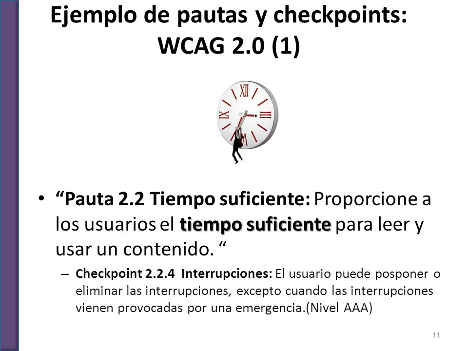 Ejemplo de pautas y checkpoints: WCAG 2.0 (1)