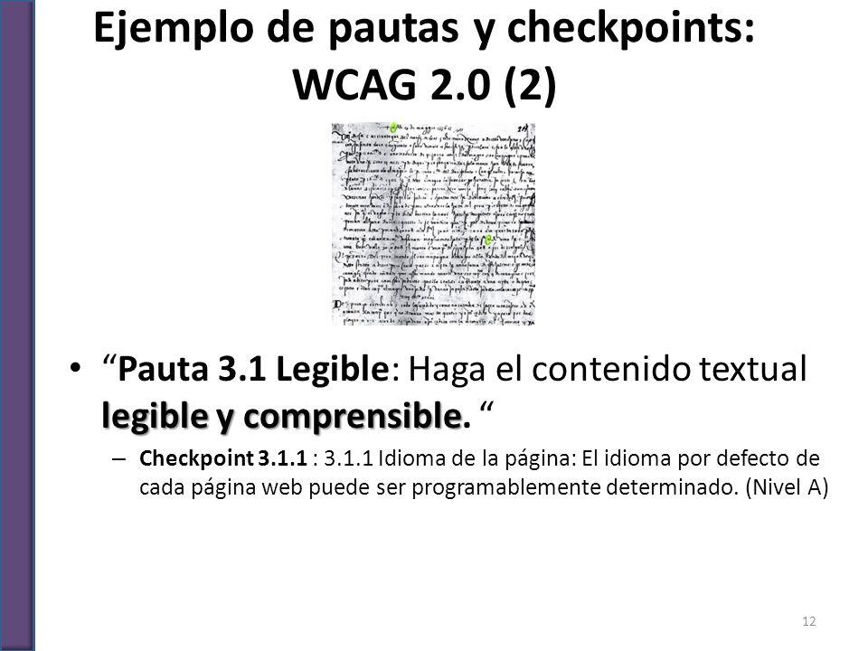 Ejemplo de pautas y checkpoints: WCAG 2.0 (2)