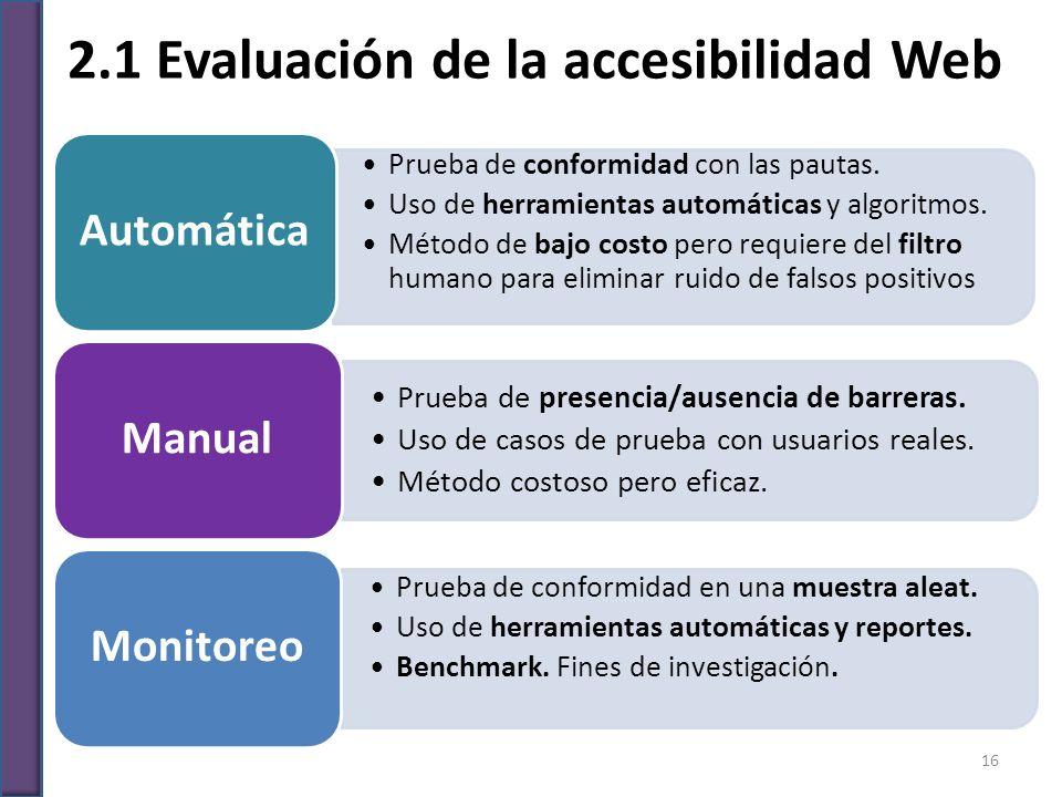 2.1 Evaluación de la accesibilidad Web