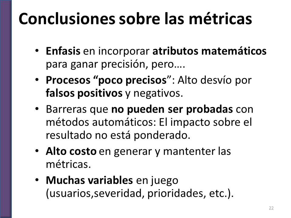 Conclusiones sobre las métricas