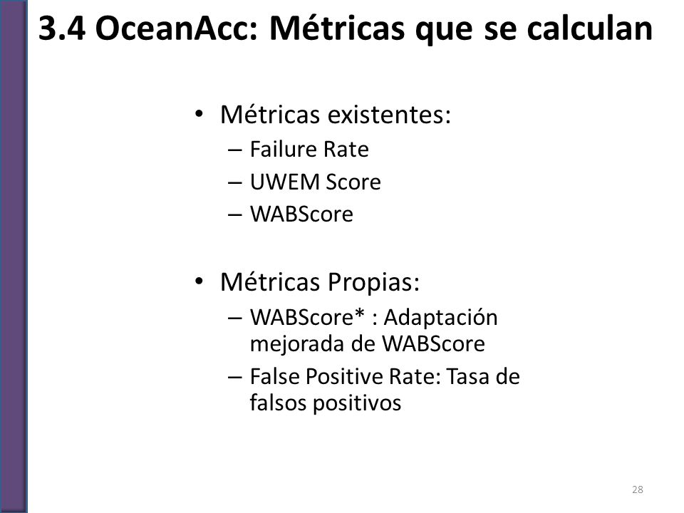 3.4 OceanAcc: Métricas que se calculan