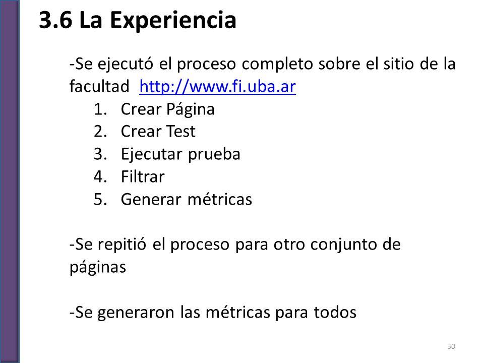 3.6 La Experiencia Se ejecutó el proceso completo sobre el sitio de la facultad http://www.fi.uba.ar.