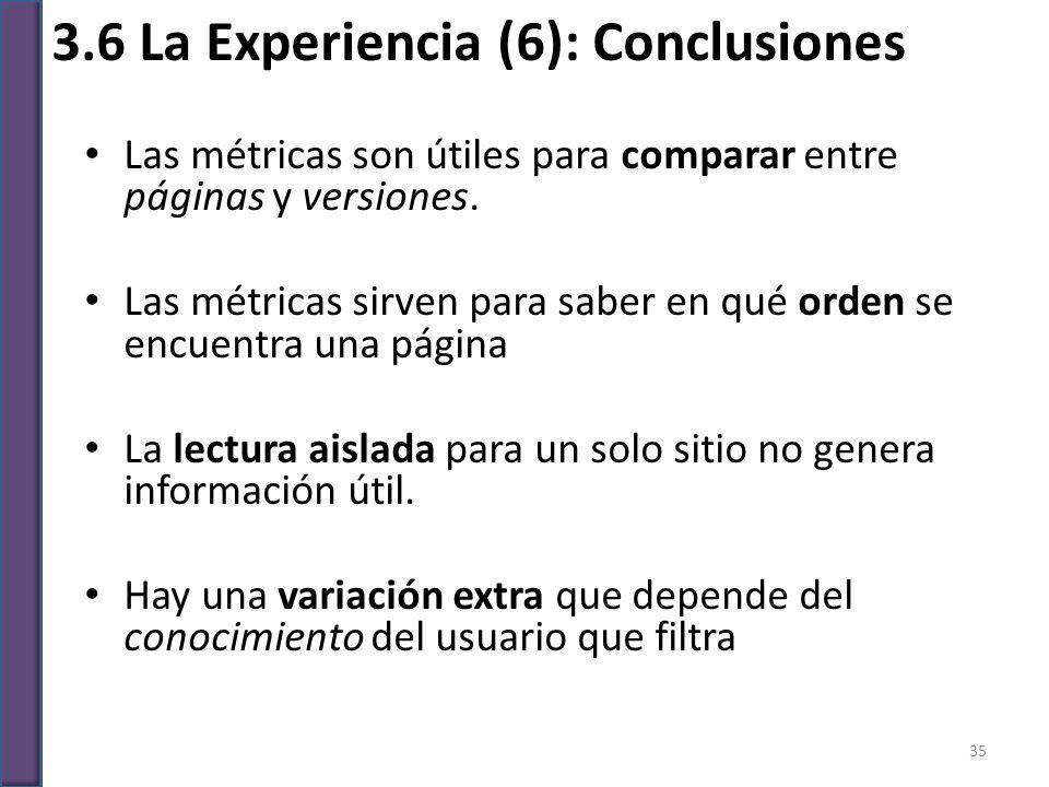 3.6 La Experiencia (6): Conclusiones