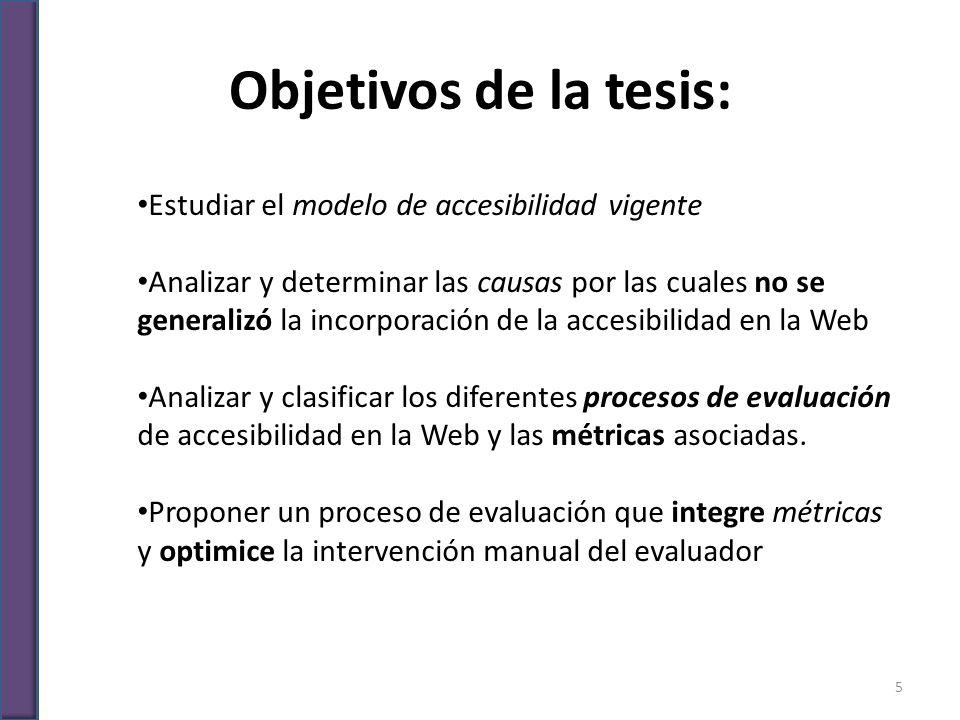 Objetivos de la tesis: Estudiar el modelo de accesibilidad vigente