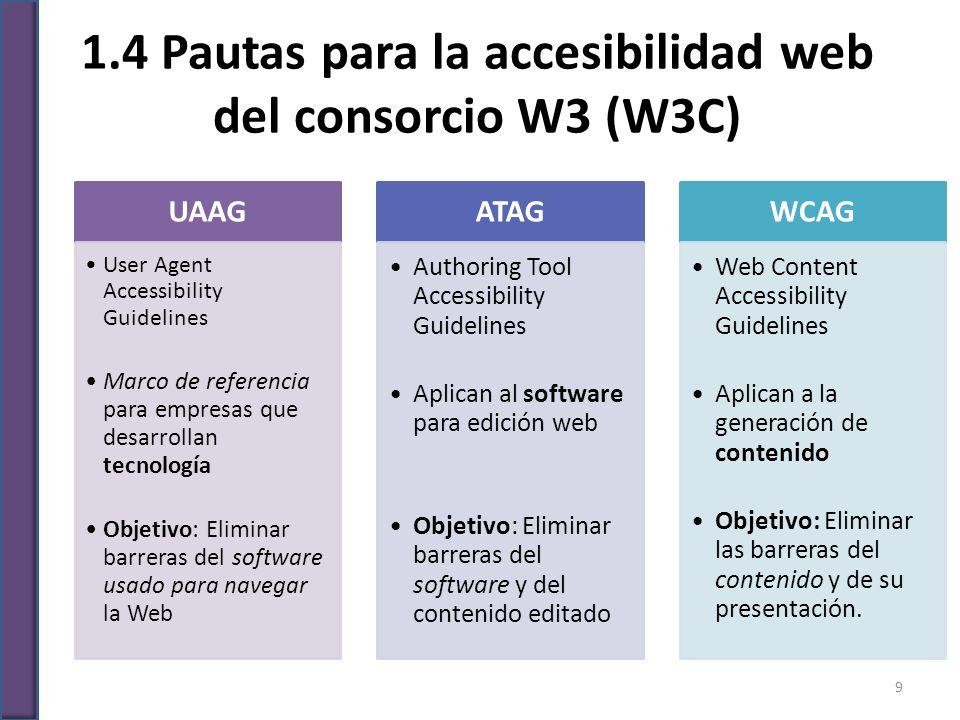1.4 Pautas para la accesibilidad web del consorcio W3 (W3C)