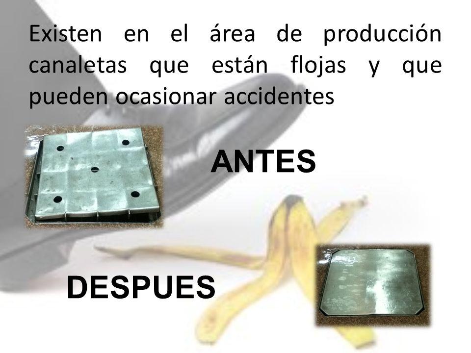 Existen en el área de producción canaletas que están flojas y que pueden ocasionar accidentes