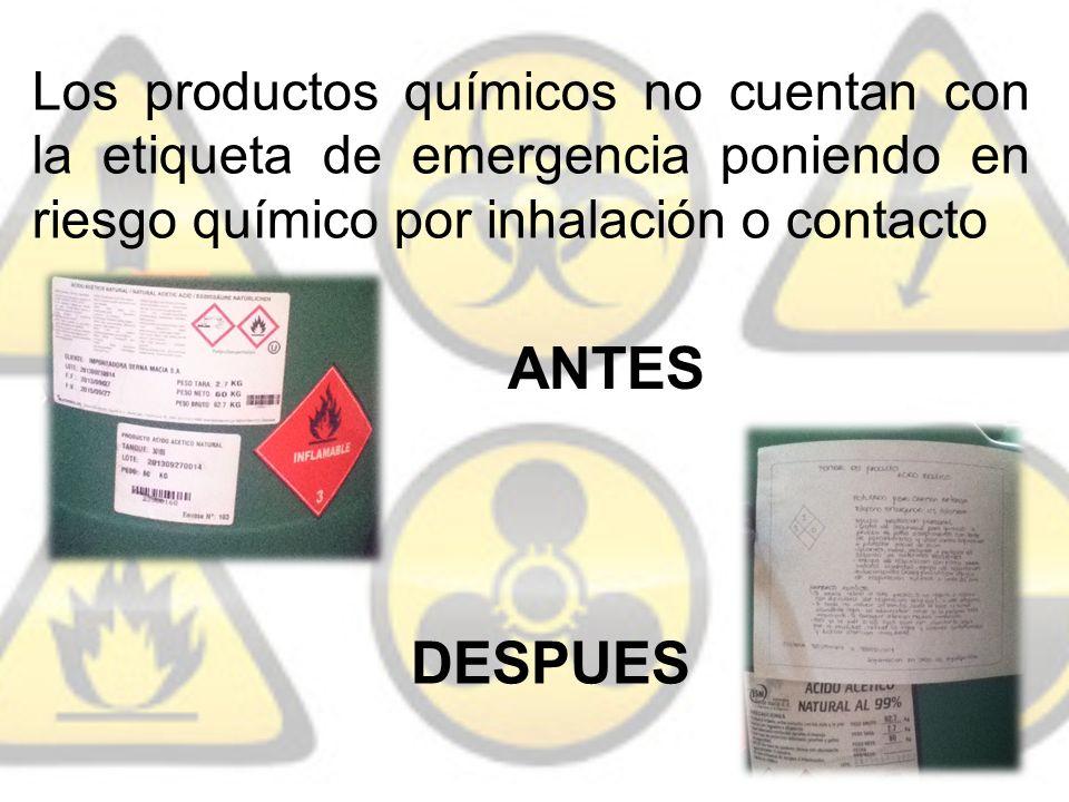 Los productos químicos no cuentan con la etiqueta de emergencia poniendo en riesgo químico por inhalación o contacto