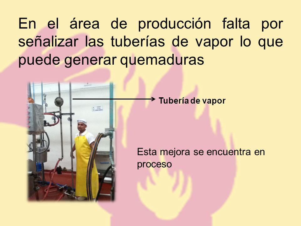 En el área de producción falta por señalizar las tuberías de vapor lo que puede generar quemaduras