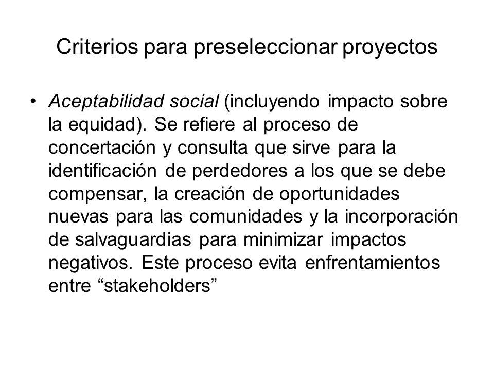 Criterios para preseleccionar proyectos