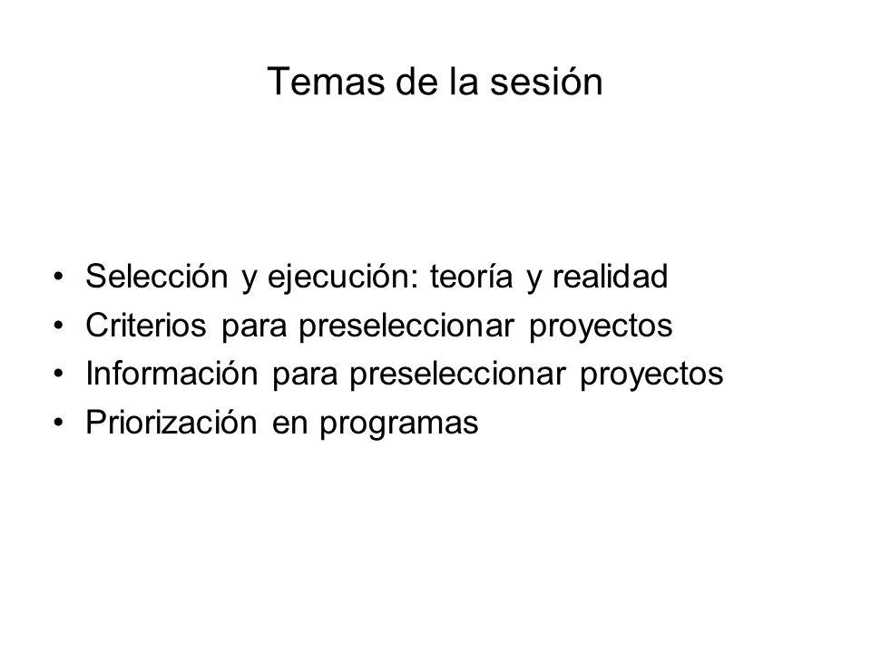 Temas de la sesión Selección y ejecución: teoría y realidad