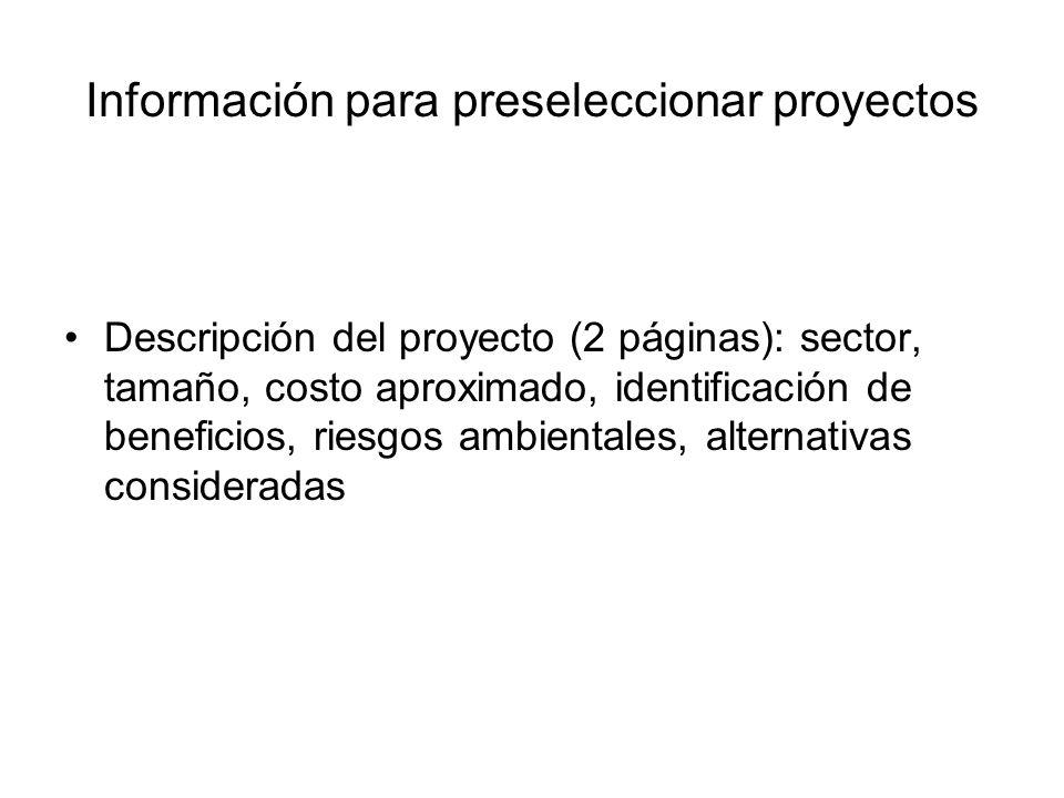Información para preseleccionar proyectos