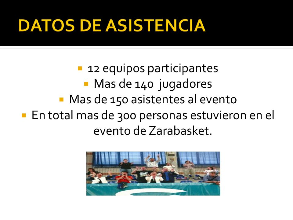 DATOS DE ASISTENCIA 12 equipos participantes Mas de 140 jugadores