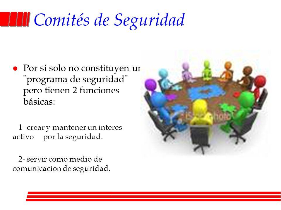 Comités de Seguridad Por si solo no constituyen un ¨programa de seguridad¨ pero tienen 2 funciones básicas: