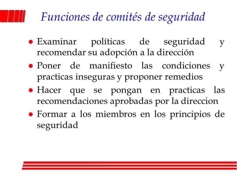 Funciones de comités de seguridad