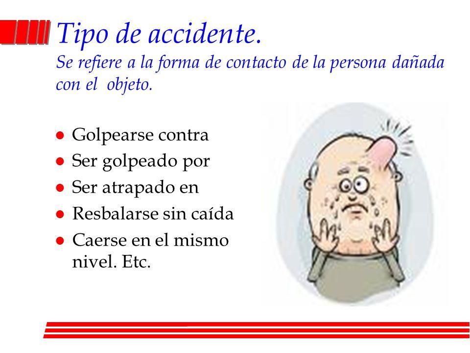Tipo de accidente. Se refiere a la forma de contacto de la persona dañada con el objeto.